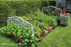 Head footboard of bed make a whimsical garden veggie herb garden. Notice the bedside table that completes the theme. - Flower Beds and Gardens Vegetable Garden Design, Vegetable Gardening, Veggie Gardens, Gardening Tools, Flower Gardening, Gardening Gloves, Raised Garden Beds, Raised Beds, Garden Art