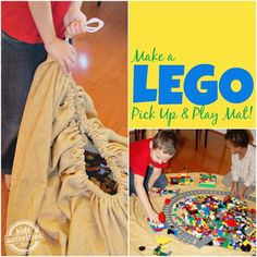 Make a LEGO Pick Up and Play Mat - Kids Activities Blog Toy Storage Solutions, Diy Toy Storage, Storage Ideas, Smart Storage, Kitchen Storage, Storage Hacks, Food Storage, Legos, Lego Lego
