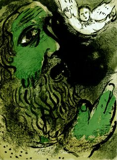 Marc Chagall: Lithographs for the Bible (1960) - Job Praying (M. 253). Original color lithograph, 1960.