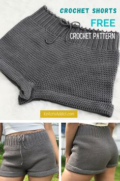 Crochet Shorts (Free Pattern XS-XXL) How to crochet your own pair with this beginner friendly written pattern and step by step video tutorial. Sewing Patterns Free, Clothing Patterns, Knitting Patterns, Free Pattern, Free Crochet Patterns For Beginners, Shawl Patterns, Pattern Sewing, Knitting Ideas, Mode Crochet