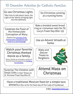 This printable, as well as other monthly activity printables for Catholic families, can now be downloaded at Many Little Blessings.  Click here to visit the page to see the instant downloadable December activities sheet. Printable Topic: A list of ten activities for your Catholic family to do together during the month of December Note: This …