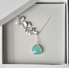 Handmade Necklace, Silver Necklace, Sterling Silver, Orchid, Mint Stone, Rhodium Plated, Dainty Necklace, Tiny,Gift for Her, Bridesmaid Gift