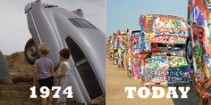 Then and Now: Cadillac Ranch's crazy colors through the years #travel #roadtrips #roadtrippers