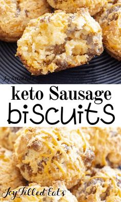 KETO Sausage Biscuits - Low Carb, Gluten-Free, Grain-Free, THM S These sausage muffins are just like the ones your mom used to make with pancake mix. Except they are healthy. And more flavorful. Sausage Muffins, Sausage Biscuits, Keto Biscuits, Low Carb Dinner Recipes, Keto Recipes, Breakfast Recipes, Breakfast Ideas, Breakfast Casserole, Breakfast Gravy