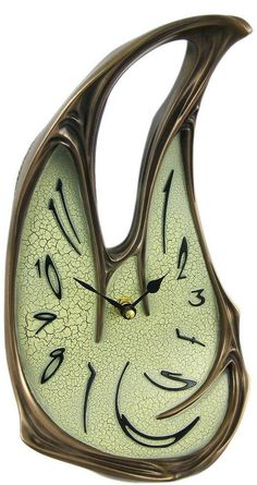 Cool Bronze Finish Melted Desk Clock Table Mantel Dali