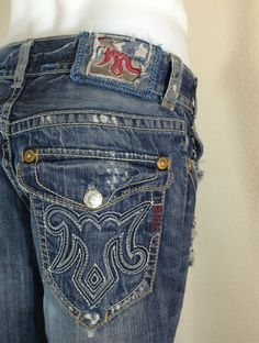 Men's MEK Denim Jeans OAXACA 31x34 Distressed Embroidered Signature M  $59.99