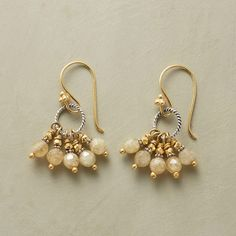 """GOLDENLOCKS EARRINGS--Shot through with nature's striations heightened by 22kt vermeil accents, golden rutilated quartz emits a wondrous warmth. Sterling French wires. Handmade in USA. 1-3/8""""L."""