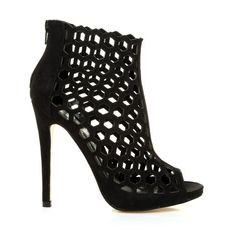 0a144b0d9ceb LAMAR Black Faux Suede Caged Honeycomb Peep-Toe High Heel Ankle Boots