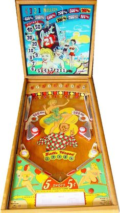 Just 21 pinball machine made by Gottlieb in 1950 Video Game Machines, Pinball Wizard, Penny Arcade, Vintage Games, Arcade Games, Games For Kids, Pool Tables, Wizards, Cool Stuff