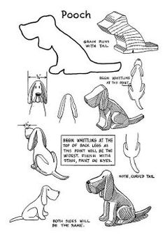 how to carve a wooden Dog whittling stencil pattern