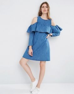 Image 4 of ASOS Denim Shift Dress with Cold Shoulder and Ruffle Detail
