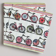 One of my favorite discoveries at WorldMarket.com: Spring Bicycles Lunch Napkins, 16-Count
