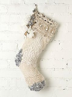Free people Tinsel and Lace Stocking  inspiration: sew doilies onto a stocking to create this effect