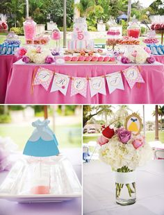 For maybe little girl one day.---Fairytale Princess Birthday Party included not just one, but five of the Disney Princesses... Cinderella, Belle, Jasmine, Snow White and Ariel ~ check out all the fun and creative ideas and pictures! Leahs 5th birthday. Hopefully baby #2 is a girl so we can reuse. Have to find some boy ideas.