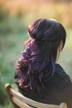 Dark Brown Hair with Purple Highlights