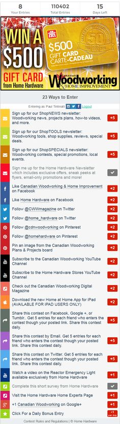 Canadian Woodworking/Home Hardware Contest Canadian Woodworking, Home Hardware, How To Plan, Projects, Cards, Log Projects, Maps, Playing Cards