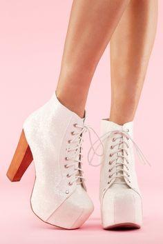 white glitter platform boots