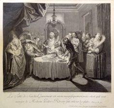 La Table de Sancho Gouverneur est servie magnifiquement; mais sitost qu'il veut manger, le Medecin Pedro Rezzio fait enlever les plats. Tom.4.ch.47 - Gravé par D. Beauvais - MAS Estampes Anciennes - Antique Prints