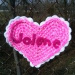 "Jolene Yarnbomb: crochet heart in honor of the song ""Jolene"" by Dolly Parton - Hi, Jenny Brown"