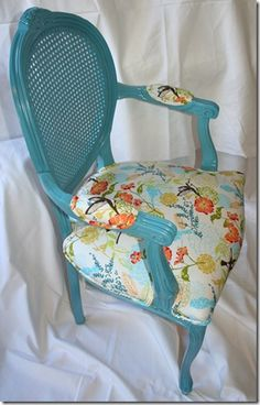 The before version of this reupholstered chair was drab and lifeless.  I love the way the paint wood works with the floral fabric.