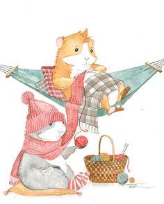 View album on Yandex. Hamsters, Baby Animals, Cute Animals, Cute Guinea Pigs, Pig Art, Bunny And Bear, Cute Piggies, Illustration, Woodland Nursery Decor