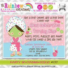017 DIY Pink and Green Spa Party Invitation Or by LilRbwKreations