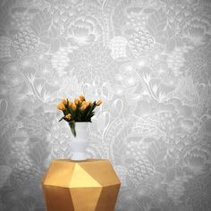 Feathr Bloom Wallpaper Shadow by Grace Michiko Hamann Modern Floral Wallpaper, Contemporary Wallpaper, Striped Wallpaper, Floral Wallpapers, B&q Wallpaper, Flower Line Drawings, Grace Art, Elegant Dining Room, Latest Wallpapers