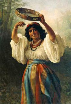 painting of a gypsy woman with tambourine