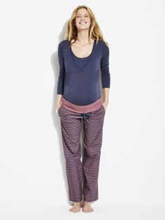 #Pantalon #pyjama imprimé de #grossesse, Future #Maman - Collection Colline automne hiver 2014 - www.vertbaudet.fr