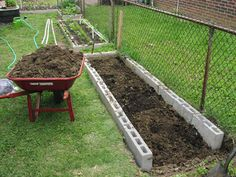 Using concrete blocks to build a raised bed garden