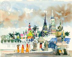 Dong Kingman - Bangkok, A.M., c. 1970's, California art, original California watercolor art for sale, fine art print for sale, giclee watercolor print - CaliforniaWatercolor.com