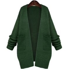 Collarless Patch Pocket Plain Cardigan (1.690 RUB) ❤ liked on Polyvore featuring tops, cardigans, jackets, outerwear, sweaters, cardigan top, long cardi, long green cardigan, long sleeve cardigan and sleeve top