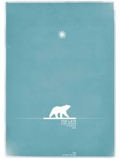 Le contraste entre le bleu et le blanc est frappant c'est pourquoi nous voyons tout de suite l'ours polaire, le soleil ainsi que le message inscrit plus bas qui nous informe du but de la photo. Le message est donc bien passé puisque l'oeil a été attiré vers la bonne endroit.