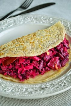 Crunchy and creamy beet salad wrapped into a soft pancake