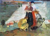 Dunakanyar zebegényné, Palántálók - The Danube bend at Zebegény, Planters  1937 tempera on canvas 100 x 140 cm