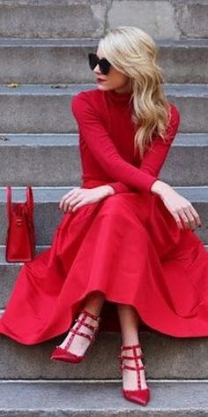 Casual, red, afternoon dress. The perfect fall/winter dress.