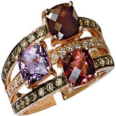 Le Vian 14k Strawberry Gold, Rhoholite, Pink Tourmaline, Amethyst and diamond...