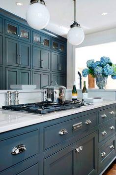Image result for blue grey cottage kitchen cabinets