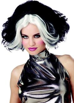 Black/White Dalmation Diva Wig - Candy Apple Costumes - Black and White Costumes Black And White Costume, Black Wig, Book Day Costumes, Costume Ideas, Halloween Makeup, Halloween Costumes, Apple Costume, Villain Costumes, Bride Of Frankenstein
