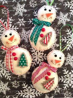 Snowman Ornaments / Whimsical Colorful Snowman / Set of 3