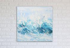 Ocean Wave Painting Art Acrylic Original // Ocean by KatieJobling