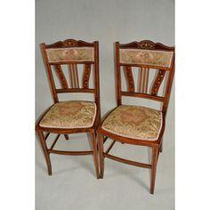 krzesła edwardiańskie Anglia XIX/XXwiek intarsjowane i inkrustowane unikalne 4 sztuki po renowacji (politura)