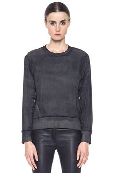 Helmut Lang|Washed Cotton-Blend Sweatshirt in Black [1] $240