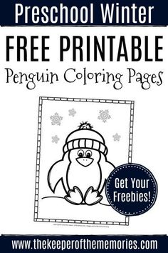 Check out these cute penguin coloring pages! Little kids will love the adorable winter clip art and of course theyre per Sensory Activities Toddlers, Preschool Themes, Preschool Printables, Kids Learning Activities, Preschool Worksheets, Motor Activities, Classroom Themes, Teaching Resources, Free Printables