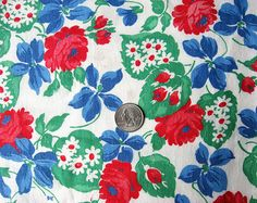 Vintage 1940's Feedsack Cotton  Fabric Red by kelleystreetvintage