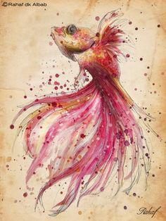 Rahaf Dk Albab ilustrações digitais e pinturas em aquarela mulheres aves