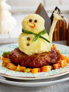 Wenn draußen kein Schnee liegt, bauen wir uns unseren #Schneemann eben aus #Kartoffelpüree! #kinderessen