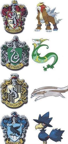 Hogwarts mascots as Pokémon. Not a huge fan of the Murkrow, makes Ravenclaw look evil. An eagle maybe?
