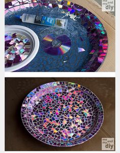Use old DVD's as mosaic tiles and create a stunning work of art sealed with Envirotex Lite High Gloss resin finish. via Learn this fun using broken DVDs instead of This is an awesome DIy Fun Diy Crafts, Diy Arts And Crafts, Diy Craft Projects, Recycled Cd Crafts, Diy Para A Casa, Cd Diy, Crafty Craft, Crafting, Resin Crafts