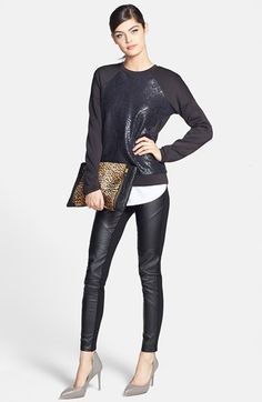 Trouvé Faux Leather Front Leggings | Nordstrom